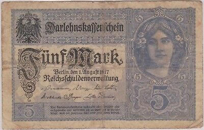 (N11-13) 1917 Germany 5 marks bank note (13M)