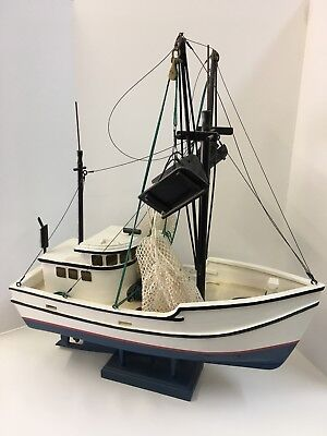 "Handmade Model Commercial Fishing Boat 27"" Long"