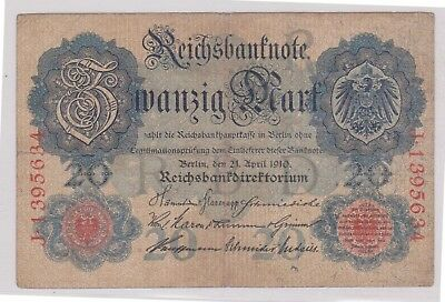 (N1-29) 1910 Germany 20 marks bank note (29AD)