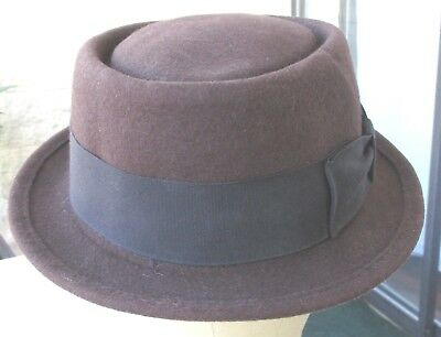 "Vtge.Boater hat,Porkpie Derby-100% wool ""Hat Co"" New York- Large-Brown-Good cond"