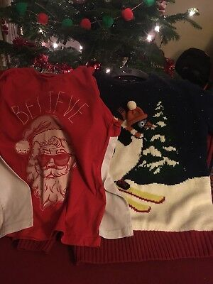 Boys Christmas light up flashing Jumper & long sleeve top 7-8)  8-9