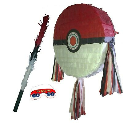 Pokeball Pinata smash Birthday Party Pokémon GO Pikachu Poké Ball red white UK