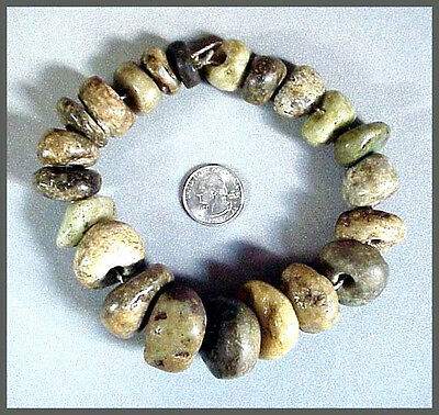 Pre-Columbian 22 LARGE STONE BEADS Ex: Museum Collection
