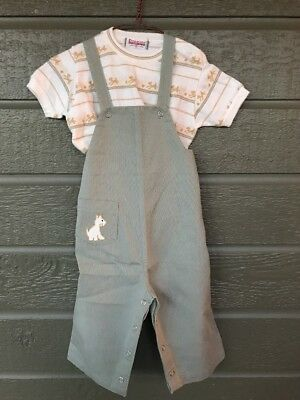 Vintage Healthtex Overalls w/ Donmoor T-shirt Puppies Dogs Boys Toddler