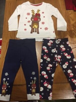 Girls Christmas top and leggings outfit 12-18 months WITH FLASHING LIGHTS