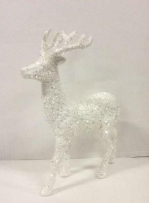 New 46cm Tall Standing Reindeer Figure Christmas Decoration 'White/Silver'