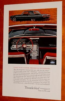 Black 1964 Ford Thunderbird With Red Interior Ad - Vintage American 60S T-Bird
