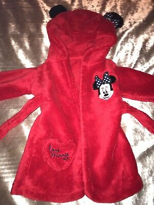 Baby Girls 0-6m Minnie Mouse Dressing Gown Red Christmas
