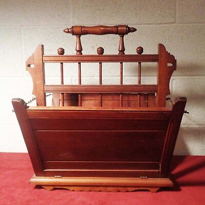 GREAT Antique Eastlake Victorian Walnut Retractable Magazine Parlor Rack 19th C.