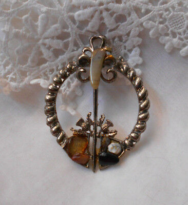 Vintage Silver Celtic Scottish Brooch With Various Agate Stones - Estate Item