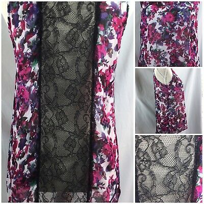 Studio Y Womens Top Sleeveless Black Pink Floral Laced High low Back Size Medium