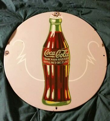 VINTAGE Christmas Coca Cola Coke Porcelain Advertising Sign 1931