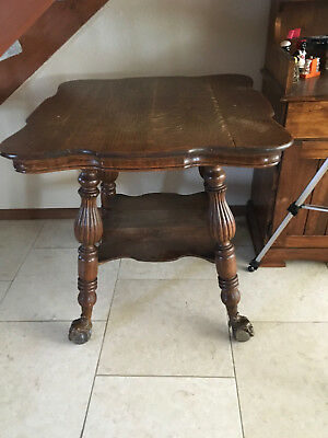 Antique Parlor Table - Claw with a FACE and Glass Ball Feet