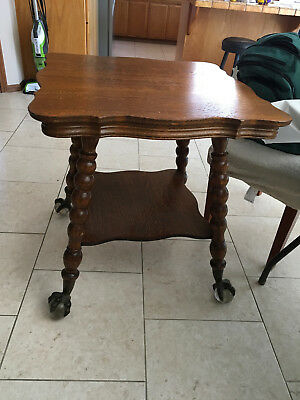 Antique Parlor Table w Claw and Glass Ball Feet
