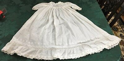 Vintage Linen Cotton Infant Baby Doll Christening Baptism Gown Eyelet Lace