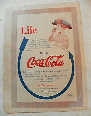 """1910, Sept. The Woman's """"life ~ Drink Coca-Cola"""" Arrow To Woman  W/ Flair Glass"""