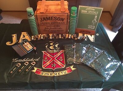 Rare Jameson Irish Whiskey Bundle Crate Flag Flask Tin Shot Glasses T Shirts Cup