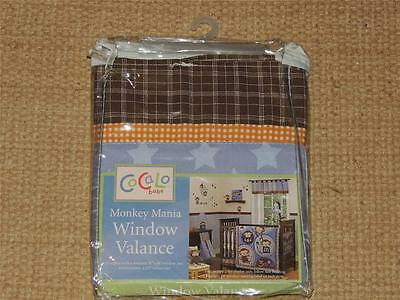 New Cocalo Baby Monkey Mania Valance Nursery Brown Blue Star Tab Top Plaid 53""