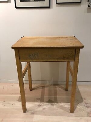 Vintage Old School Retro wooden Desk With Lid Top