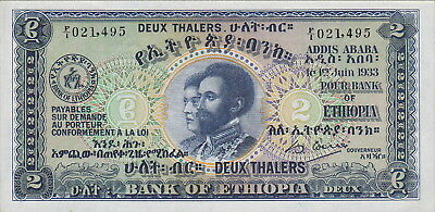 Ethiopia,2 Thalers Banknote,1.6.1933 Uncirculated Condition Cat#6-1495
