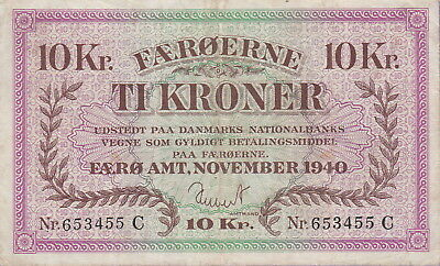 Faeroe Islands,10 Kroner Banknote,11.1940,Nice Very Fine Condition Cat#11-A-3455