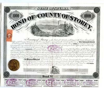 1869    $1000 Virginia City, NV. Bond