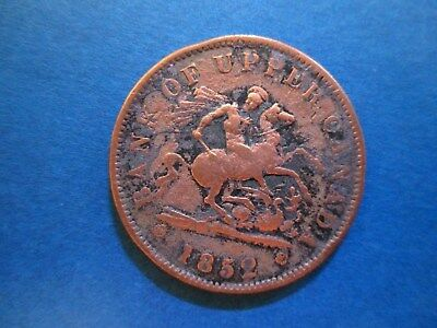 1852 Bank of Upper Canada Penny Token