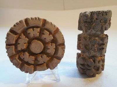 2 Nicoya Pottery Stamps Roller Pre-Columbian Antiquities Ancient Artifacts Mayan