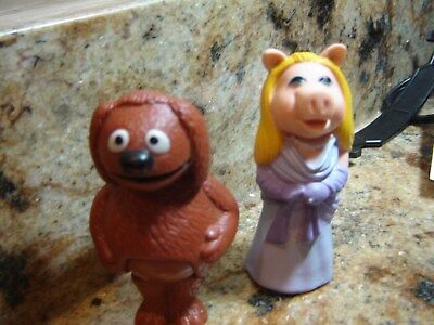 "1978 Vintage Miss Piggy & Rowlf The Dog Figures 3.5"" tall Henderson Associates"