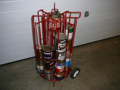 Vintage 1 Quart Oil Can Display Rack On Wheels From Service Station