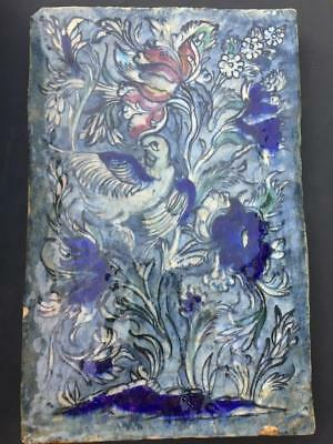"ANTIQUE 19th C. OTTOMAN ISLAMIC DAMASCUS STYLE TILE - DOVE & TULIPS, 14"" high"