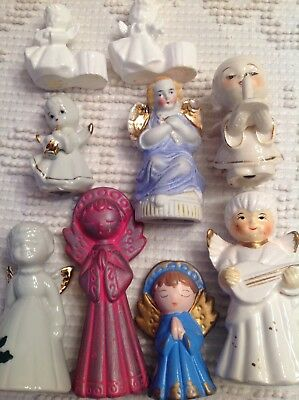 Vintage Lot of 9 60's Angels  Figurines Japan Chalkware ornaments statue