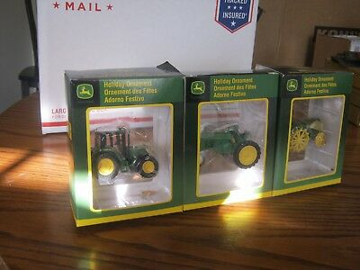 Lot of 3 John Deere Tractor Collectible Christmas Holiday Ornements
