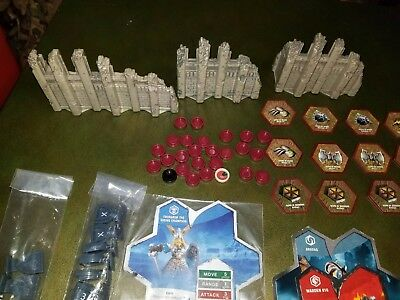 Lot of Heroscape Pieces - Cards Glyphs Dice Order and Wound Markers and Walls