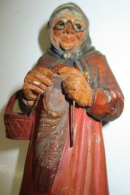 Vintage Carved Wooden Knitter Old Lady with Wire Rim Glasses & Knitting Needles