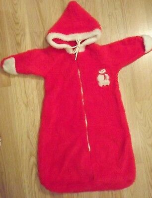 Vintage Christmas Baby hooded bunting suit Fuzzy Red white with applique 1980's