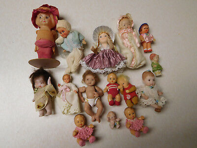 Vintage Antique Lot Various Material Dollhouse Dolls Baby Unsigned Unmarked