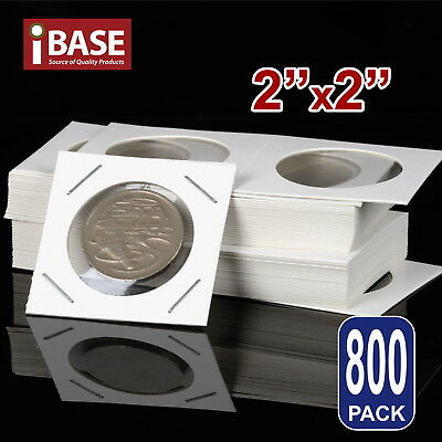 "800x Staple Coin Holder 2""x2"" Display Clear Window Storage Protect Cent 35mm"