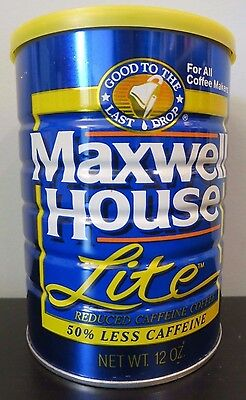 Vintage Unopened 12 oz Maxwell House Lite Steel Coffee Can w/Plastic Lid NOS