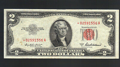 $2 1953A STAR RED SEAL OLD Legal Tender United States Note Replacement Bill OLD