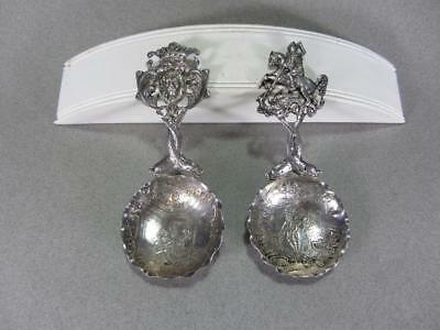 2 Antique 1901 English Sterling Silver Tea Caddy Spoons Maker's Mark S.B.L.