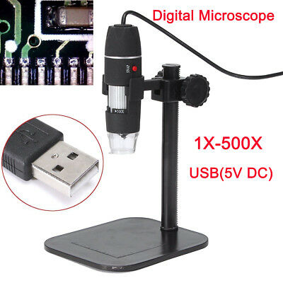 8 Led Usb Digital Microscope Endoscope Magnifier Camera + Lift Stand 1X-500X