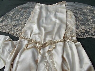Exquisite champagne silk satin wedding gown...lace sleeves...pearls c. 1920