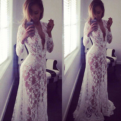 US Women Lace Deep V Neck Sexy Dress Party Evening Long Sleeve Maxi Long Dress