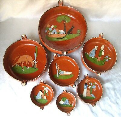 Vintage Mexican Pottery Tlaquepaque Set of 7 Nesting Bowls Made in Mexico MP CO
