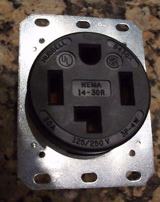Hubbell HBL9430A Receptacle, 30A, 125/250V,  3 Pole, 4 Wire, Grounding.