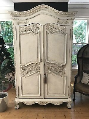 Pretty French Style Armoire / Wardrobe / Cupboard with Ornate Carved Detail