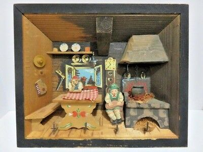 Austria Handmade Wood Diorama Shadow Box Folk Art Doll House Size Kitchen Scene