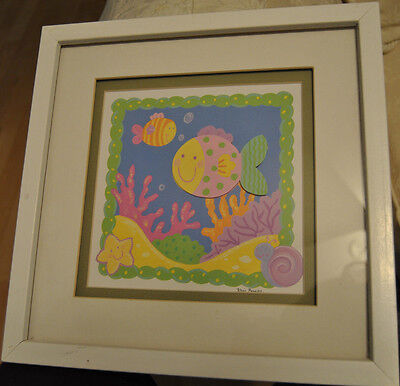 """Cute Bright Colored Fish Coral Framed Picture. 12"""" Square. Raised Fish"""
