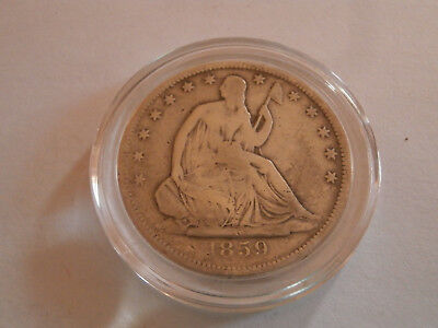 1859 - S  half dollar Seated Liberty US  Pre-Civil War 90% Silver NR